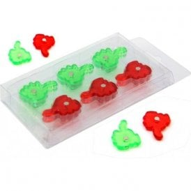 Green & Red Thumbs Up / Down Hand Shaped Magnet (22mm dia x 4mm high) (10 Packs of 12)